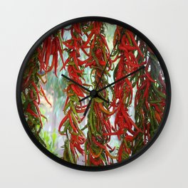 Strung and Hanging Red and Green Chili Peppers Drying Wall Clock