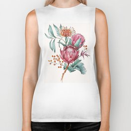 King protea flowers watercolor illustration Biker Tank