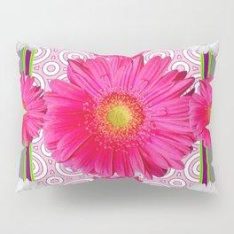 Fuchsia Gerbera & Shasta Daisy  Pink-Grey Pattern Art Pillow Sham