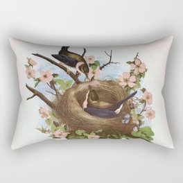Vintage Birds with Nest Pink Rectangular Pillow