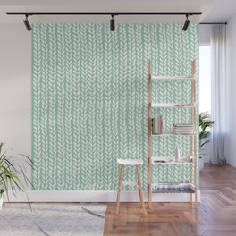 Knit Wave Mint Wall Mural