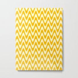 Cream Yellow and Amber Orange Horizontal Waves Metal Print