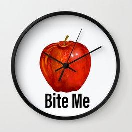 Muérdeme manzana roja Wall Clock