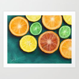 Slices on Slices on Slices of Citruses Art Print