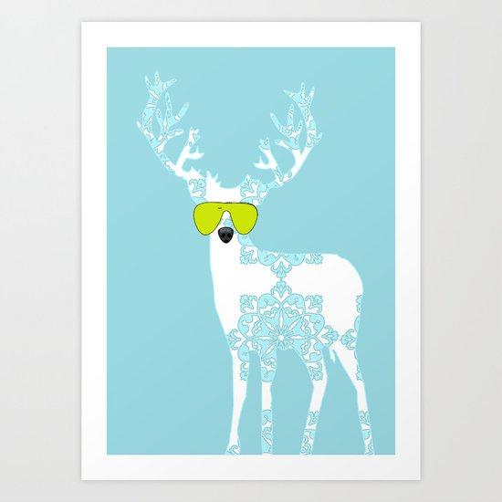 Blue Deer with sunglasses on  Art Print
