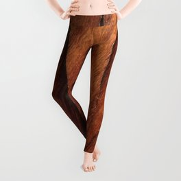 Beautiful Unique  brown wood inlay marquetry veneer design Leggings