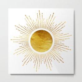 Golden Sunburst Starburst White Hot Metal Print