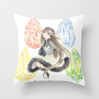 agnes cecile Throw Pillows featuring Bravely Default Agnes & Crystals Watercolor by Aini