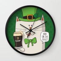 irish Wall Clocks featuring Saint Patric's cat, Cat cartoon characters, Irish Cat cartoon, ZWD004 by ZeeWillDraw