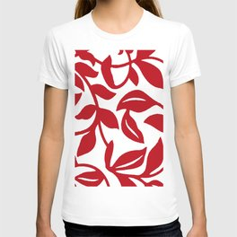 LEAF PALM VINE IN RED AND WHITE PATTERN T-shirt