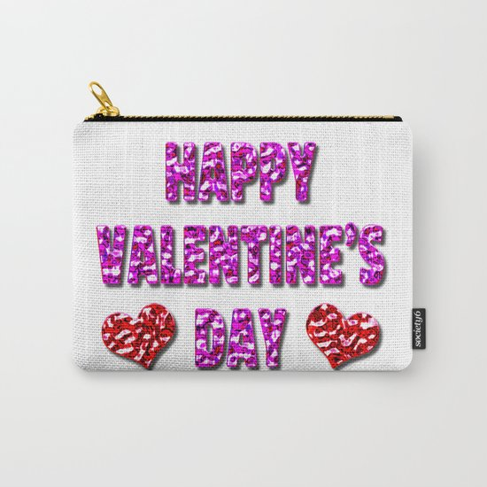 Happy Valentine's Day Metal Pink and Red Letters Carry-All Pouch