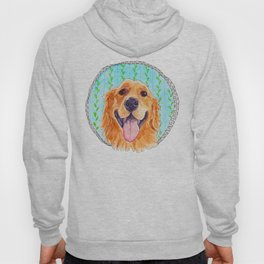 You're Never Fully Dressed without a Smile, Golden Retriever, Whimsical Watercolor Painting, White Hoody