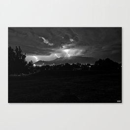 Lightning over the 'Bu..... Canvas Print