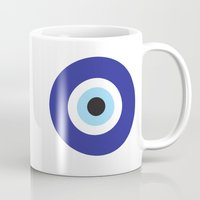 evil eye Mugs featuring Evil Eye by Deadly Designer