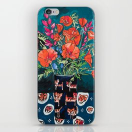 California Poppy and Wildflower Bouquet on Emerald with Tigers Still Life Painting iPhone Skin