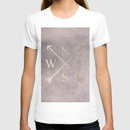 Gold on Pink Blush Distressed Compass Adventure Design T-shirt