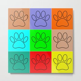 Puppy Paws In Squares Metal Print