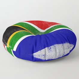 South African Distressed Halftone Denim Flag Floor Pillow