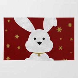 Christmas Bunny Red Marble Rug