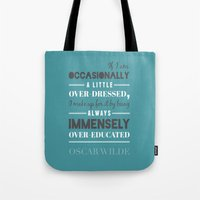 oscar wilde Tote Bags featuring Oscar Wilde - poster by Katya Sarria