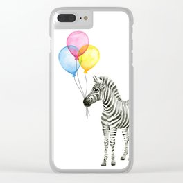 Zebra with Balloons Watercolor Baby Animals Clear iPhone Case