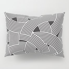 Modern Scandinavian B&W Black and White Curve Graphic Memphis Milan Inspired Pillow Sham