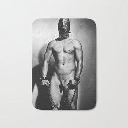 Nude cuffed Slave Boy Bath Mat