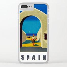 Vintage Spain Travel - Fisherman Clear iPhone Case