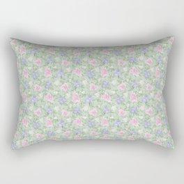Flower Play Pink Lavender Green Antique Look Medium Rectangular Pillow