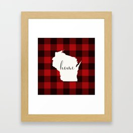 Wisconsin is Home - Buffalo Check Plaid Framed Art Print