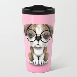 Cute English Bulldog Puppy Wearing Glasses on Pink Travel Mug