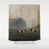 cows Shower Curtains featuring Cows by Claire Whitehead
