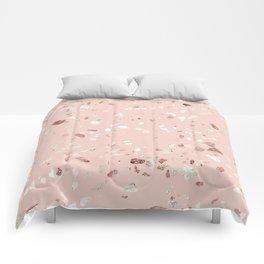 Blush Pink + Rose Gold Terrazzo Comforters