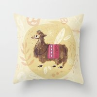 llama Throw Pillows featuring Llama by Juliana Cuervo