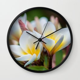 White Spring Flower Wall Clock