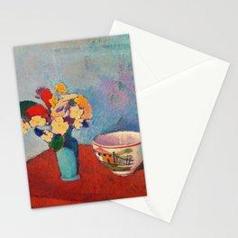 Vase with flowers and cup - Digital Remastered Edition Stationery Cards