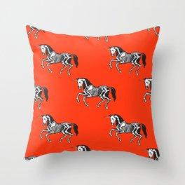 Unicorn skeleton on red Throw Pillow