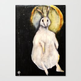 Rabbit with Moon Canvas Print