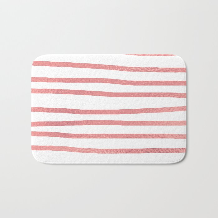 Simply Drawn Stripes Warm Rose Gold on White Bath Mat