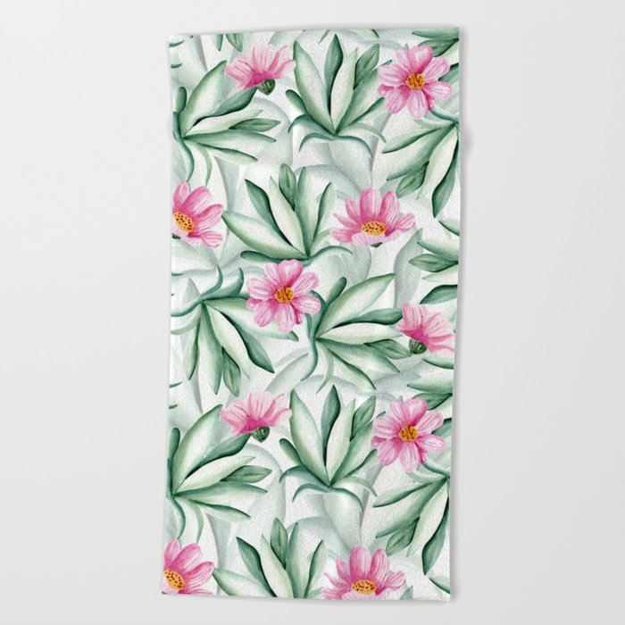 Tropical leaves and flowers Beach Towel