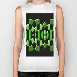 The Green Thang - Abstract Green and Black Retro Design Biker Tank