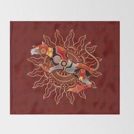 Red Lion Batik Throw Blanket