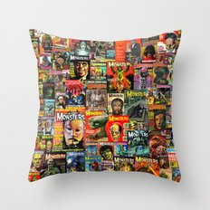 Monsters     Collage Throw Pillow