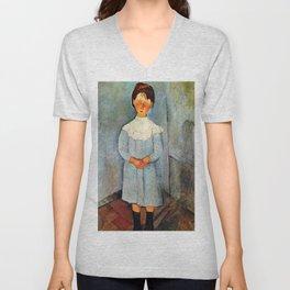 """Amedeo Modigliani """"Little girl in blue"""" Unisex V-Neck"""