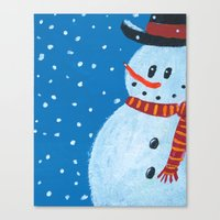 snowman Canvas Prints featuring Snowman by gretzky