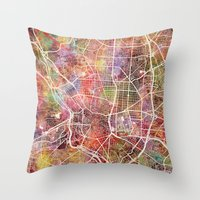 real madrid Throw Pillows featuring Madrid by MapMapMaps.Watercolors