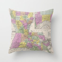 Vintage Map of Louisiana (1853) Throw Pillow