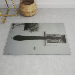 The Girl from Ipanema with the Rapunzel long black hair black and white photograph Rug