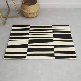 BW Oddities III - Black and White Mid Century Modern Geometric Abstract Rug