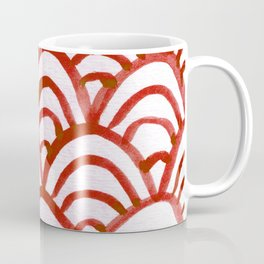 Handpainted Scallops Mermaid Scales Red Coffee Mug